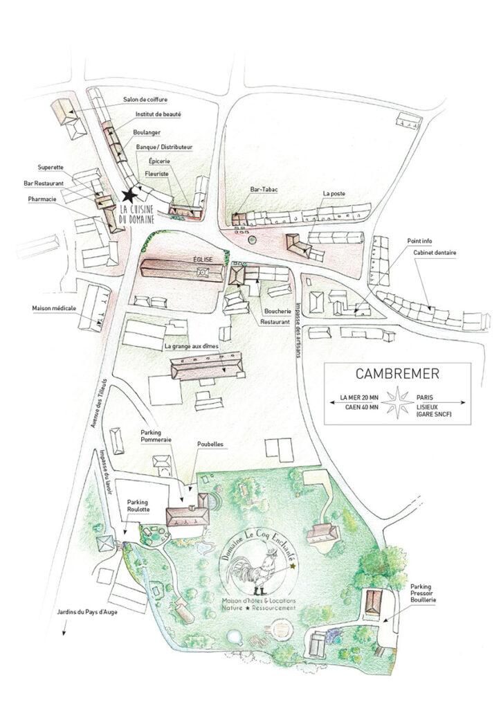 Plan du Domaine Le Coq Enchanté et Cambremer